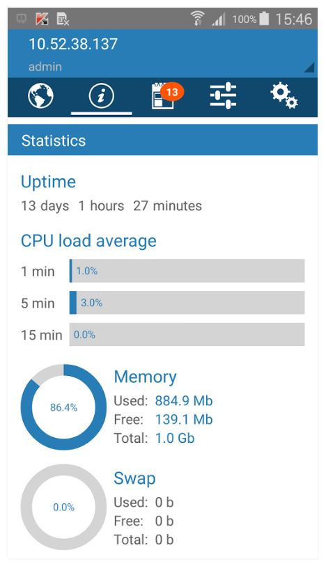 Captura de pantalla de Plesk Mobile