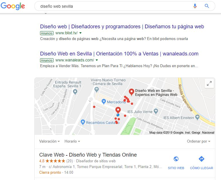 Clave Web en Google My Business